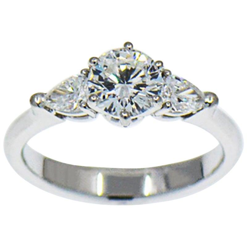 0.86 Carat E, VS1 Round Diamond Engagement Ring, Three-Stone Diamond Ring GIA