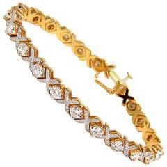 """6.00 Carat Diamonds Tennis """"X"""" Bracelet 14 Karat G/VS Micro Bead Set"""