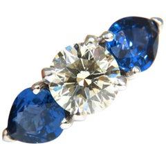 4.80 Carat Natural Sapphires Diamond Ring Three-Stone Classic