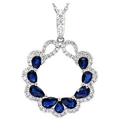 Diamond and Sapphire Pendant 14 Karat White Gold on Cable Link Chain