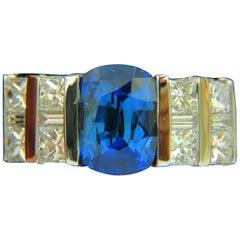 GIA 5.87 Carat Natural Bright Fine Gem Sapphire Diamond Ring
