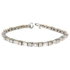 5.68 Carat Diamonds Baguette Rounds Tennis Bracelet F/VS 14 Karat Sparkle