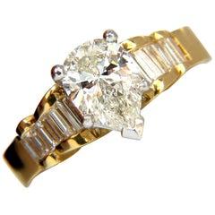 GIA 2.04 Carat Pear Brilliant Diamond Baguette Ring Raised Cathedral 18 Karat