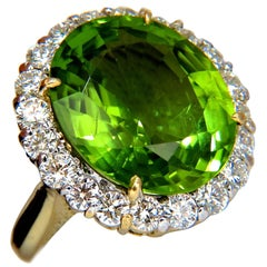 GIA 19.89 Carat Natural Vivid Green Oval Peridot Diamond Ring Halo 18 Karat