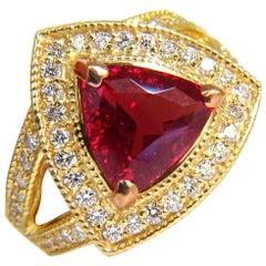GIA 4.88 Carat No Heat Classic Vivid Red Spinel Diamond Ring 18 Karat Unheated