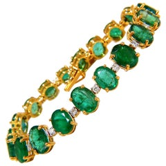 Emerald bracelet 27.42ct & .75ct diamonds classic tennis 14kt. natural greens
