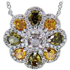 Green, Orange, White and Champagne Diamond Flower Necklace 18 Karat White Gold