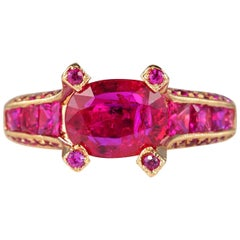 1.62 Carat Natural No Heat Ruby Plus 1.95 Carat Rare Solitaire Ring