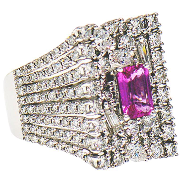 Pink Sapphire 1.00 Carat and Diamond 4.75 Carat Cocktail Ring, 18 Karat Gold