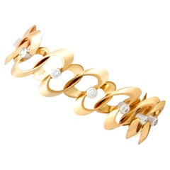 1950s Vintage French 1.20 Carat Diamond and Yellow Gold Bracelet