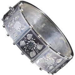Antique Victorian Floral Bangle Sterling Silver Dated 1885
