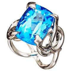 Blue Topaz White Diamonds Palladium Cocktail Ring
