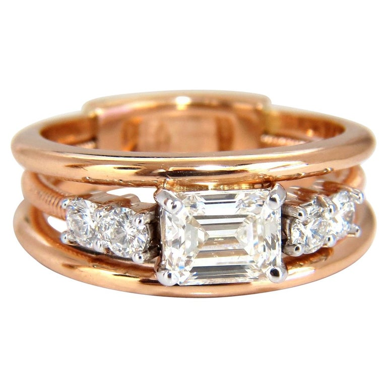 GIA Certified 1.46 Carat Emerald Cut Diamonds Ring 18 Karat F/VVs-1 Coil A