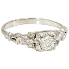 Antique Deco Diamond Ring Vintage 14 Karat White Gold Estate