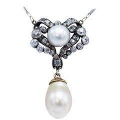 Victorian Silver and Gold Diamond Pearl Pendant Necklace
