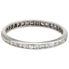 Antique Deco Diamond Platinum Eternity Ring Wedding Band Vintage