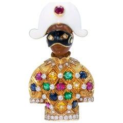 Nardi Multi Gem Enamel and Gold Harlequin Clip Brooch
