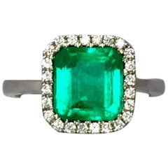 Vivid Green 2.58ct Certified Colombian Emerald Diamond 18k White Gold Halo Ring