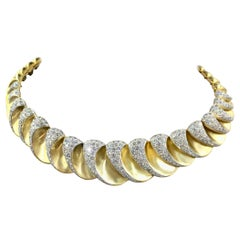 Charles Turi 18 Karat Scalloped Diamond Necklace