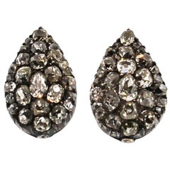 Antique Victorian Silver Old Mine Diamond Conversion Earrings