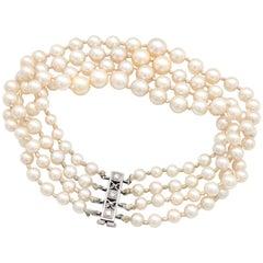 14 Karat White Gold Graduating Multi-Strand Pearl Bracelet