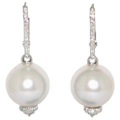 South Sea Pearls and White Diamonds on White Gold 18 Karat Chandelier Earrings
