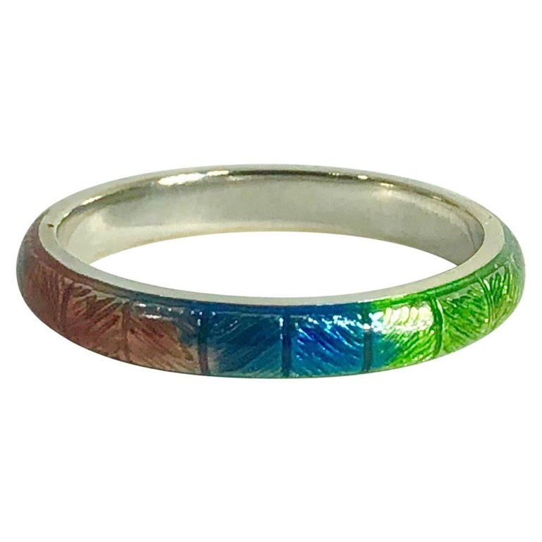 Hidalgo 18 Karat Gold and Rainbow Enamel  Fashion Ring