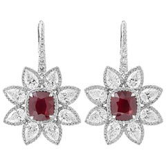 GRS Certified Vivid Red Mozambique Ruby Diamond Earrings, 14.96 Carat