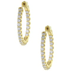 Round Diamond Inside Out Hoops