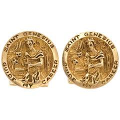 Ruser Cufflinks Vintage 14 Karat Yellow Gold Saint Genesius Estate Fine Jewelry
