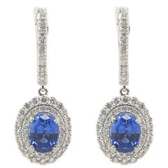 3.29 Carat Total Weight Sapphire and Diamond Earrings Set in 14 Karat White Gold