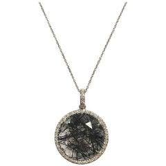 Rutile Quartz and White Diamonds on White Gold 18 Karat Pendant Necklace