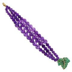 René Boivin Paris 1950s Emerald Amethyst and Gold Bracelet