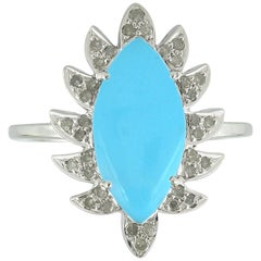 Meghna Jewels Claw Marquise Turquoise and Diamonds Cocktail Ring