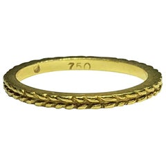 Hidalgo 18 Karat Yellow Gold Wheat Pattern Stackable Band