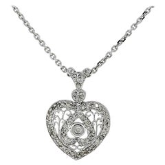 Diamonds and Filigree Heart Pendant Necklace