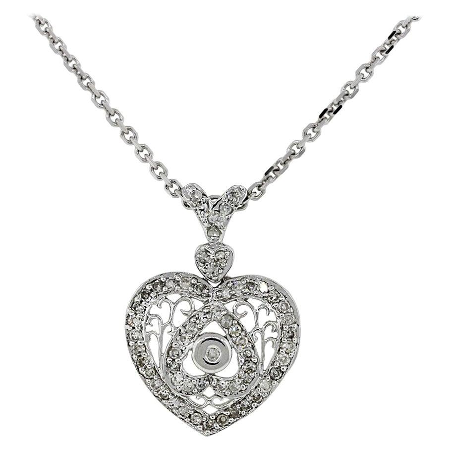 Diamonds and Filigree Heart Pendant Necklace