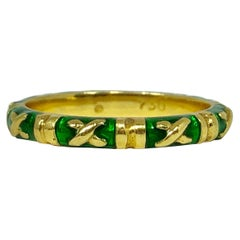 Hidalgo 18 Karat Gold Green Enamel Stackable/ Fashion Band
