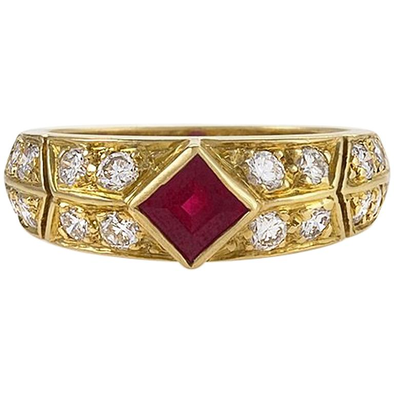 Gold, Ruby and Diamond Ring by Van Cleef & Arpels For Sale