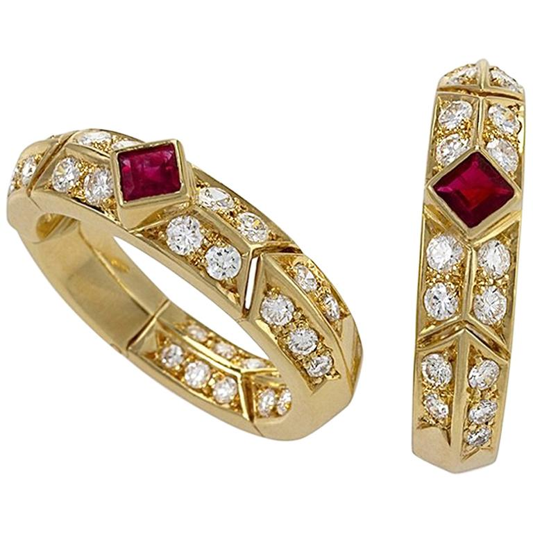 Gold, Ruby and Diamond Earrings by Van Cleef & Arpels For Sale