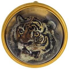 Antique Reverse Crystal Tiger Brooch