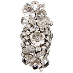 4.00 Carat Natural Brilliant Diamonds Floral Cocktail Vine 3D Deco Ring 18 Karat