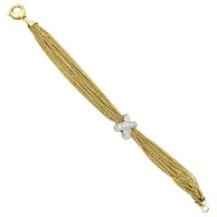 Multi Strand 18 Karat Gold and Platinum Diamond X Yuri Ichihashi Bracelet
