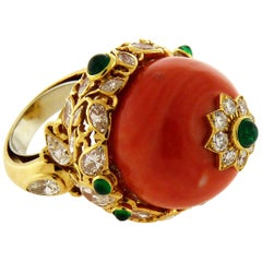 Coral Bead, Diamonds and Emeralds 18K Gold Mughal Style Cocktail Ring by D. Webb