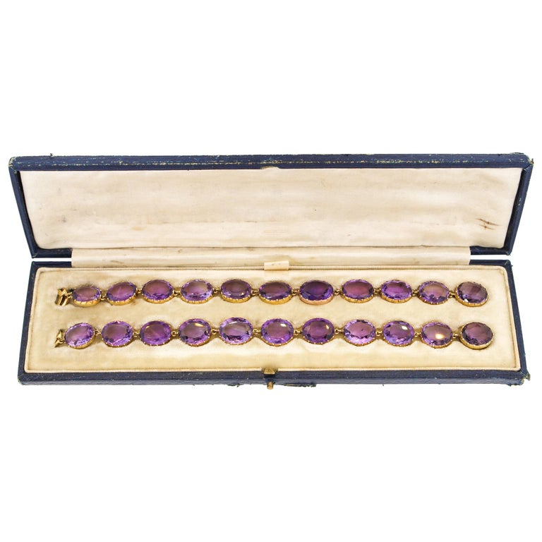 Antique Victorian Pair of Collet Set of Oval Amethyst Bracelets For Sale