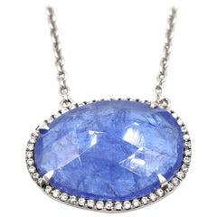 8.94 Carat Faceted Tanzanite and Diamond 18 Karat White Gold Necklace