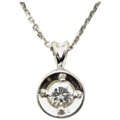 Dangling Round 0.17 Carat Diamond Pendant on Necklace 14 Karat White Gold