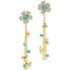 18 Karat Yellow Gold Drop Earrings with Diamond and Turquoise Accents