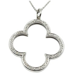 Diamond Clover Necklace 14 Karat White Gold