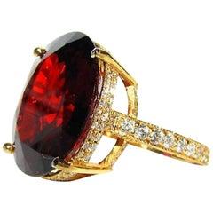 Natural 35.75 Carat Vivid Red Spessartite Diamond Ring Encrusted